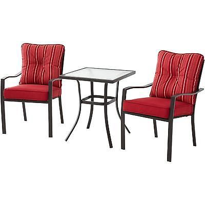 3 Piece Bistro Set Square Glass Table Cushioned Seat Dining Furniture Garden Red