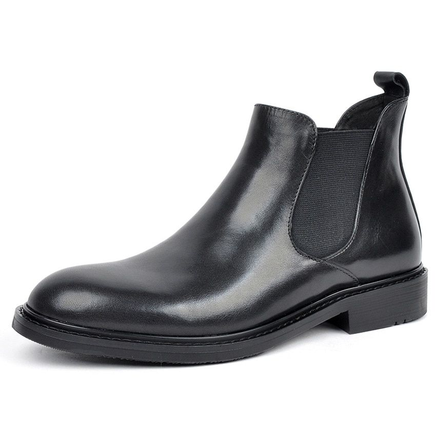 4d0505fe09819 Classic Genuine Leather Formal Dress Man Chelsea Ankle Boots Round ...