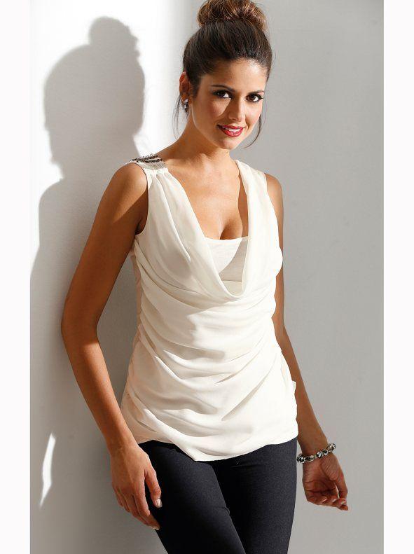 4fd72b2b9 Camiseta de fiesta escote drapeado y aplicaciones