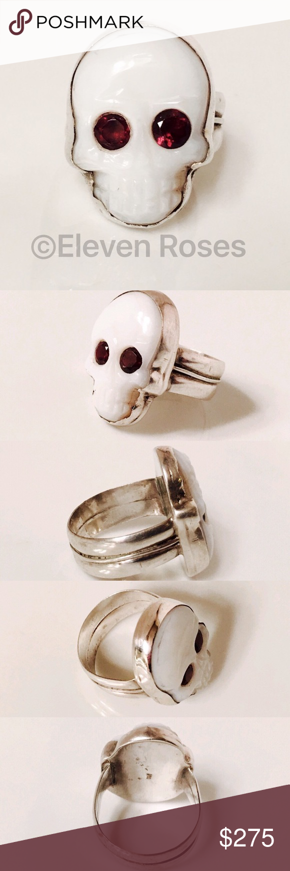 Men's Sterling White Agate & Garnet Skull Ring Large Heavy Skull Statement Ring - 925 Sterling Silver - Carved White Agate Skull - Garnet Gemstone Eyes - Weighs Approx 18 Grams - US Size 10.5 - (Duplicate Listing For 'Men's' Search Criteria) Accessories Jewelry