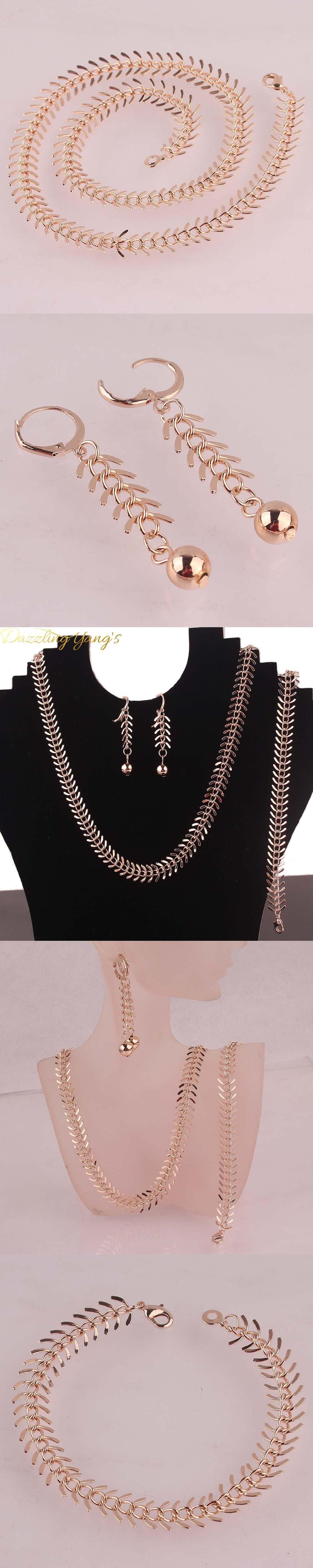 DAZZLING YANGS Hot Sell Women Trendy Jewelry Sets Rose Gold Plated