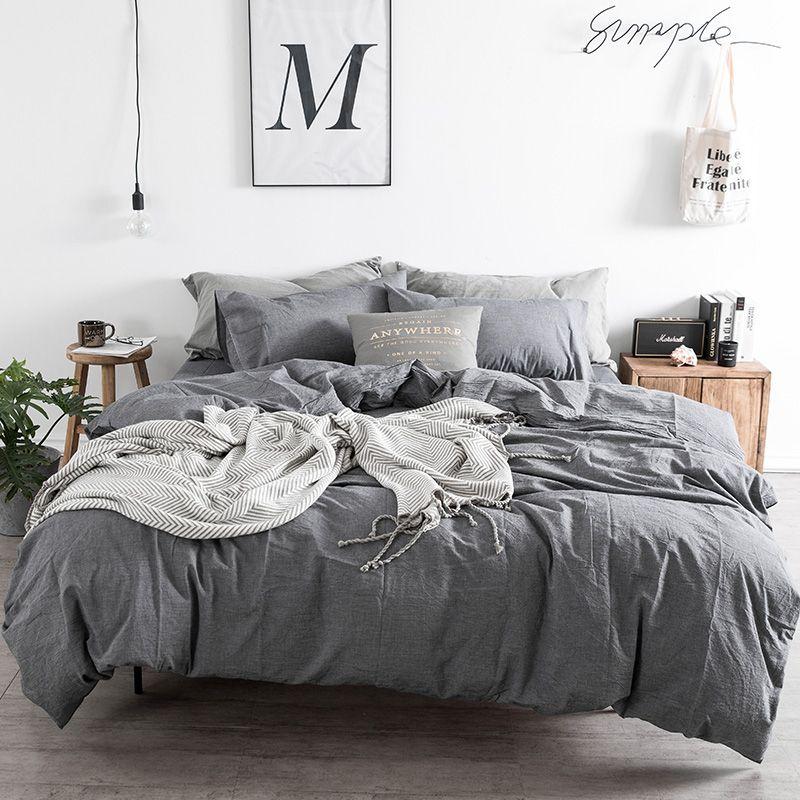 Grey Duvet Cover Set Modern Bedding Queen Duvet Cover Sheet Set Solid Bedding Sheet Pillowcase King Size Bedding Blue Bedding Bed Linens Luxury Traditional Bed