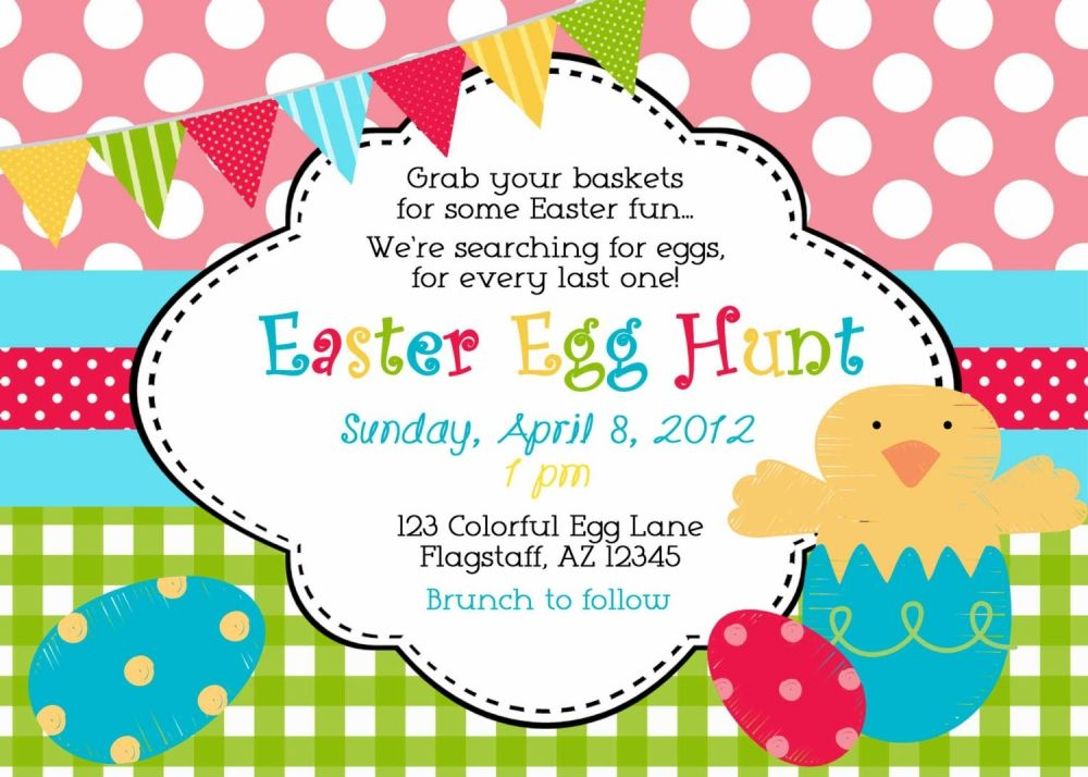 Easter Egg Hunt Invitation Wording Neighborhood parties - easter greeting card template