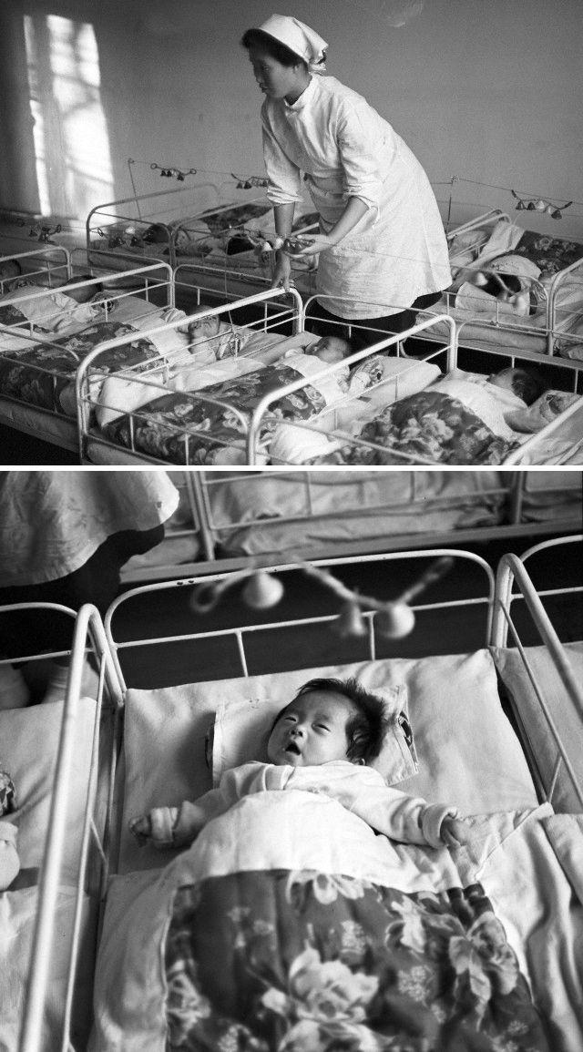 North Korea - Nurse and babies in the kindergarten nursery with bells, Pyongyang. Nov 1,1971. By Klaus Morgenstern, Gesperrt für Bildfunk ©ddrbildarchiv.de/dpa/Corbis