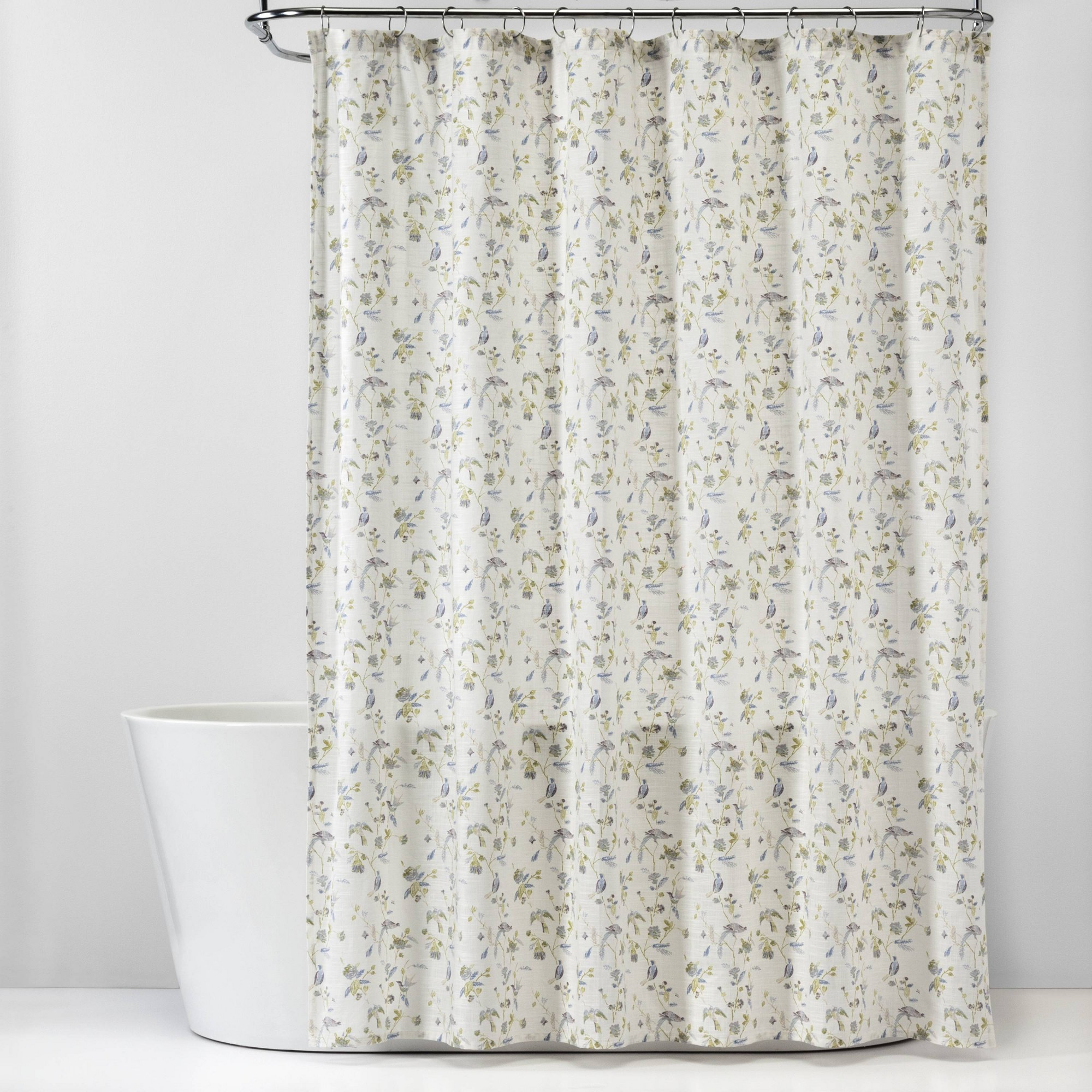 Wing Print Cotton Shower Curtain White Threshold Adult Unisex