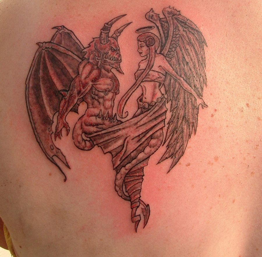 angel vs demon tattoo designs | angel and demon finish by ...