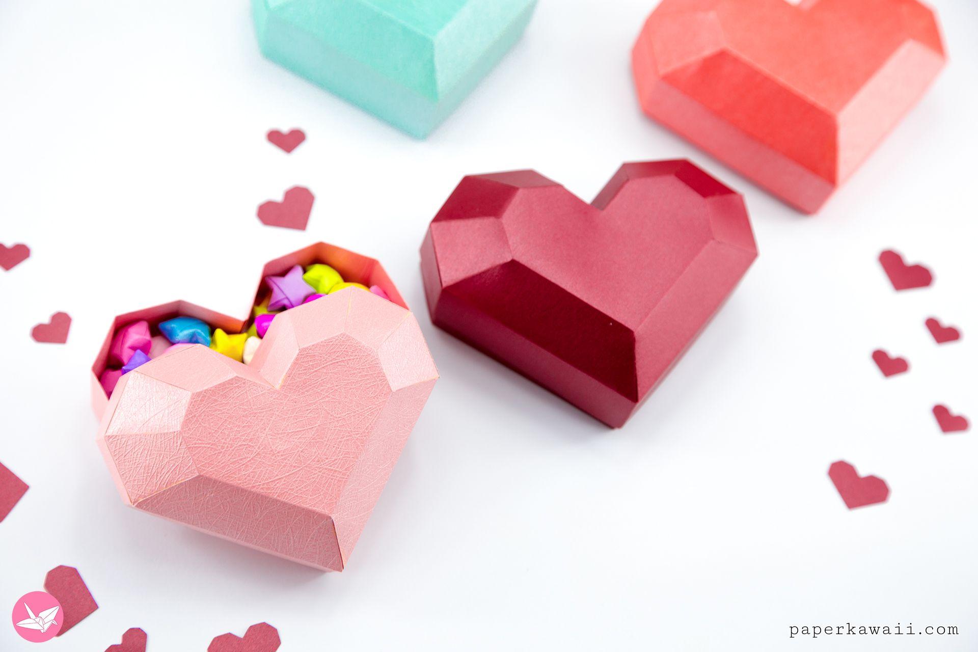 Paper Heart Box Tutorial Paper Kawaii Paper Heart Heart Gift Box Heart Box