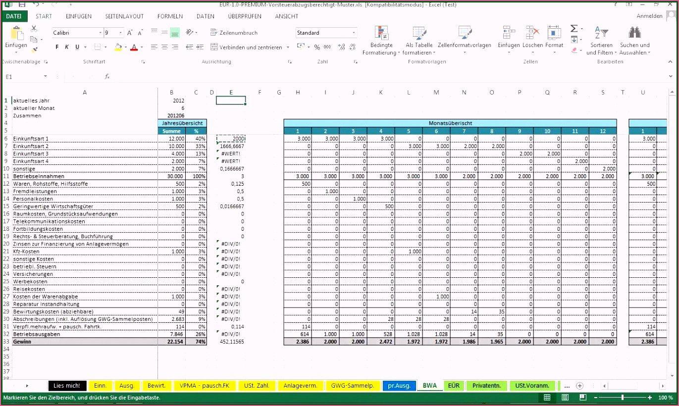 Fein Formlose Gewinnermittlung Vorlage Excel Vorlagen Excel Vorlage