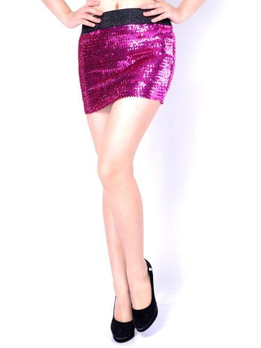 e28b96c5d88eaa Anna-Kaci S/M Fit Hot Fuchsia Pink All Over Sparkling Sequin Stretch Mini  Skirt $16.90