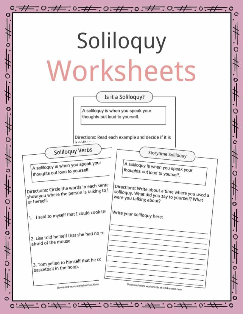 A Soliloquy I When You Speak Your Thought Out Loud Thi Can Be Are By Yourself Which Grade School Activitie Worksheet For Kid Activities Hamlet To Or Not Analysi Essay