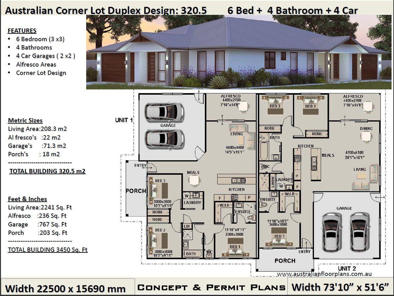 Duplex House Plans 6 Bedrooms Corner Lot Duplex House Plans Etsy Duplex Design Duplex Floor Plans Duplex Plans