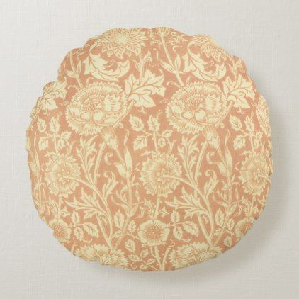 Pink and Rose by William Morris, Vintage Flowers Round Pillow