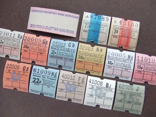 イギリスのヴィンテージバスチケット19種 アソート - BERN ヨーロッパやアメリカのスーベニール雑貨のお店