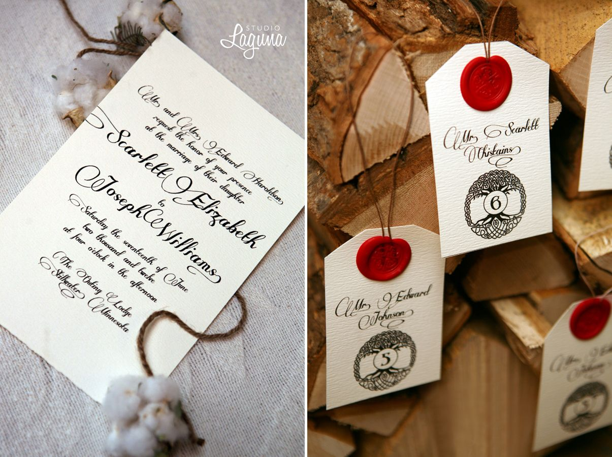 Winter Medieval Wedding Shoot Custom Calligraphy Invitation And Place Cards With Tree Of Life Graphic