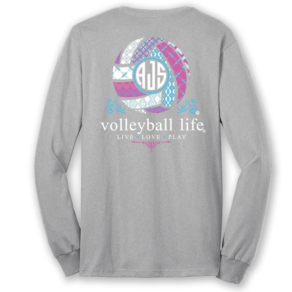 Volleyball Life Custom Monogram Long Sleeve T Shirt Volleyball Shirt Designs Volleyball Shirts Volleyball Outfits