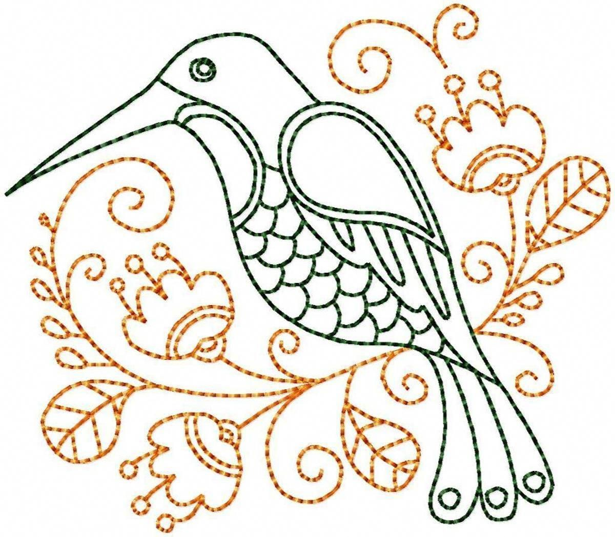 Hummingbird #9 Hand Embroidery Pattern | Craftsy #embroiderypatterns ...