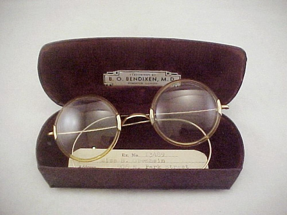 40f8d8aa84b Vtg 1920s ShurOn GF Celluloid Frame Round Rim Windsor Style Eye Glasses w Case  Vintage