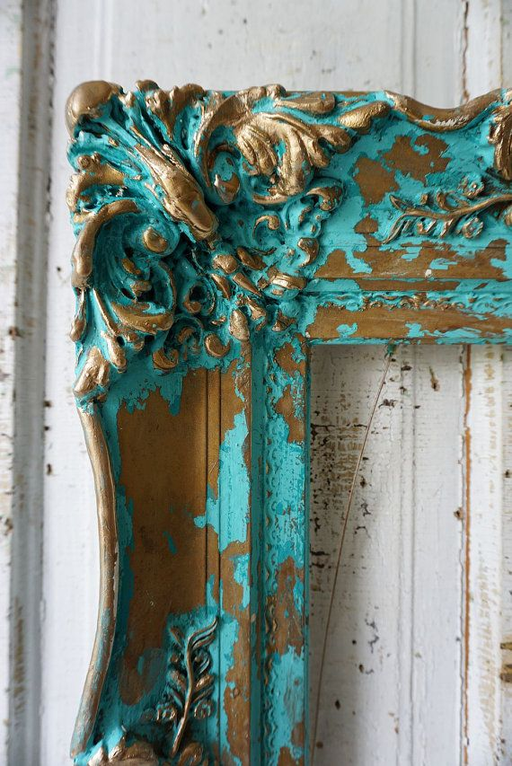 Ornate wood gesso picture frame ocean blue aqua wall hanging French ...