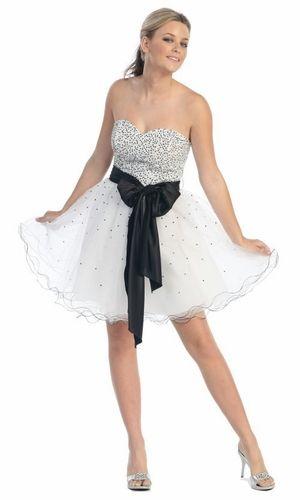 Black/White Prom Dress Tulle Short Sequin Top Black Bow Strapless ...