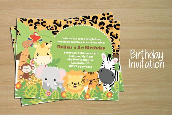 Birthday invitation card jungle creativework247 invitation birthday invitation card jungle templates vector set of birthday invitation card junglezip file eps file 1 adobe illustrat by papercute stopboris Choice Image