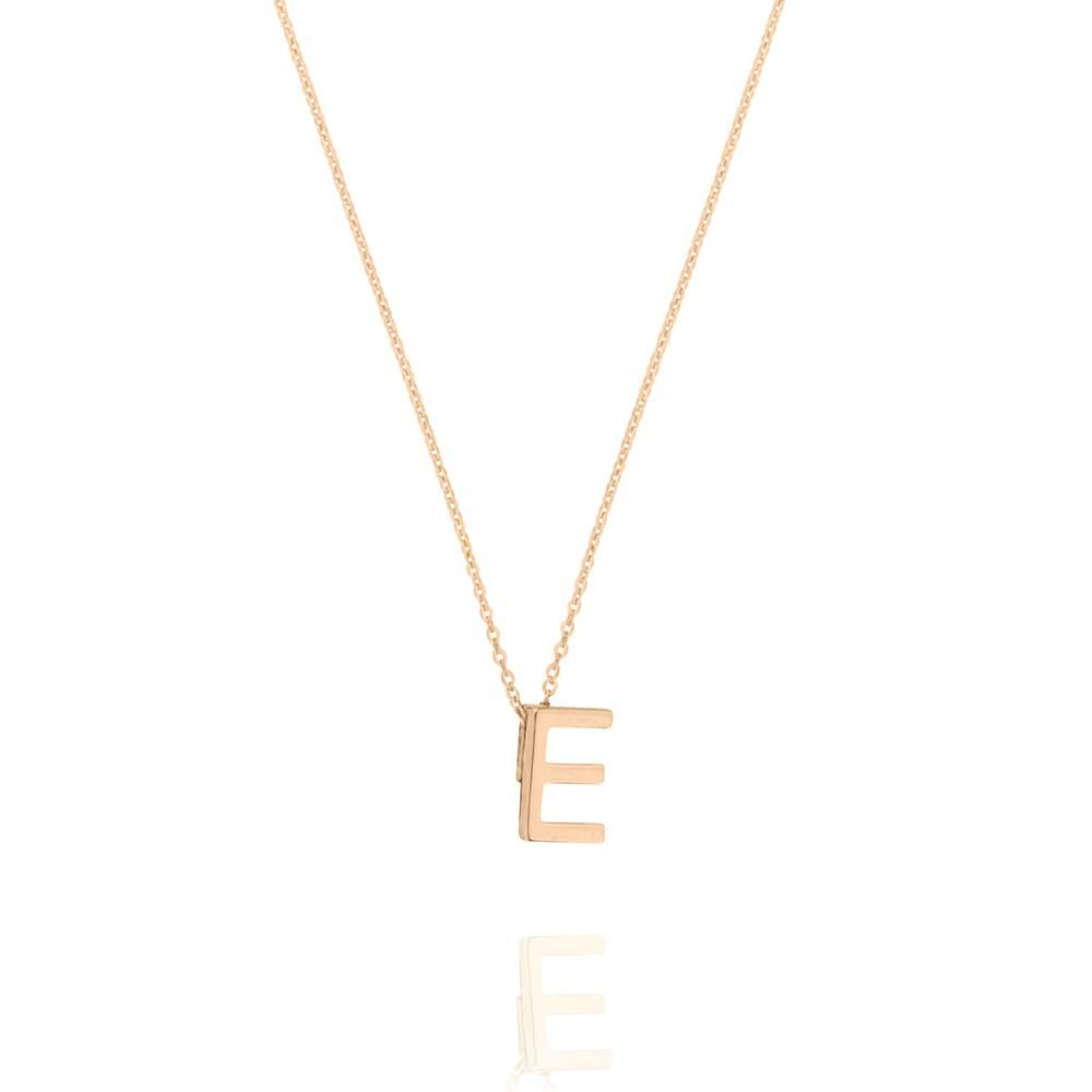 55d789a50044b E Letter Necklace - Rose Gold Plated Sterling Silver in 2019 ...