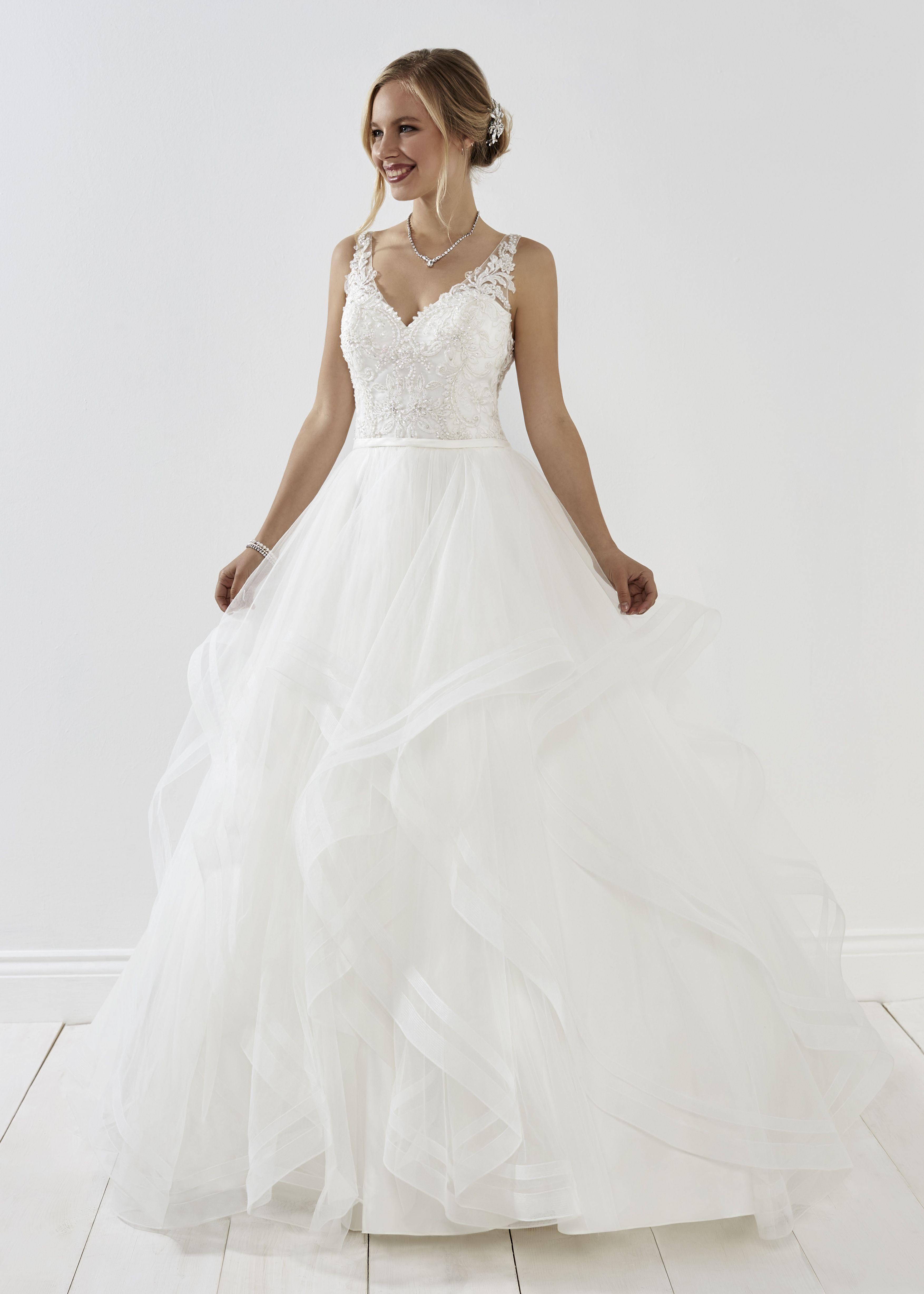 cc6b1d706a Solange in Ivory #romantica #newcollection #bridal #bride #bridestyle # wedding #lace #ballgown #ruffleskirt #princessdress