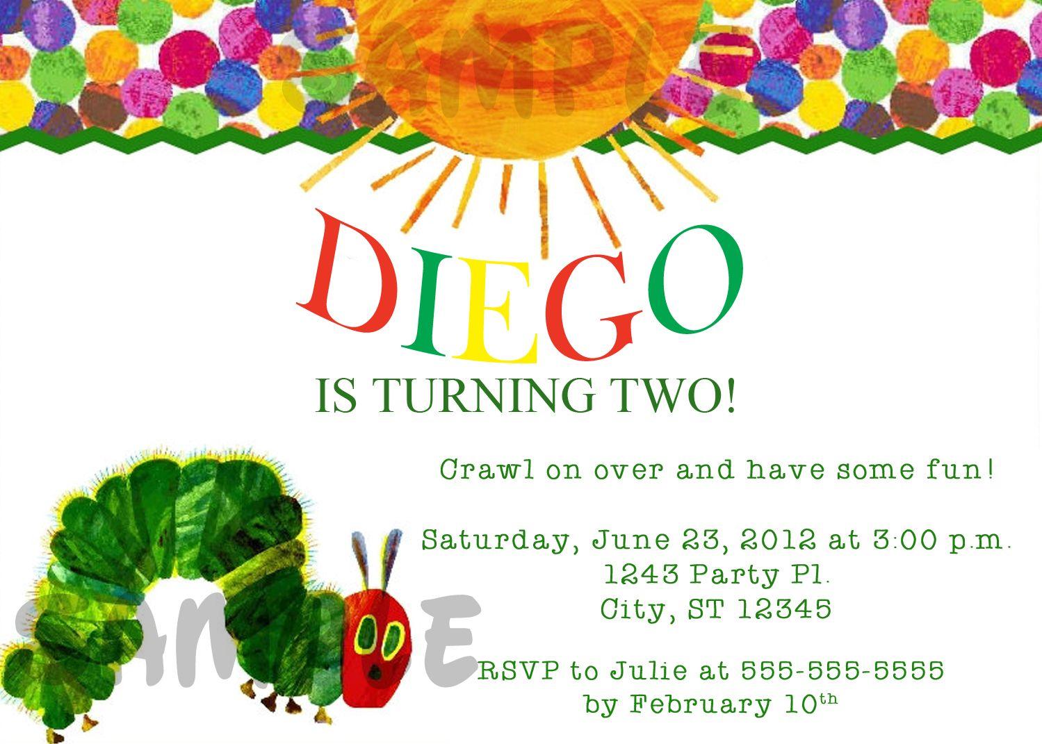 Very Hungry Caterpillar Birthday Digital Invitation $11   Kids ...