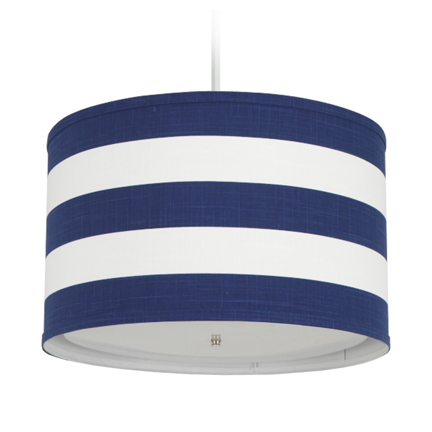 Cobalt Blue Striped Cylindrical Pendant Light