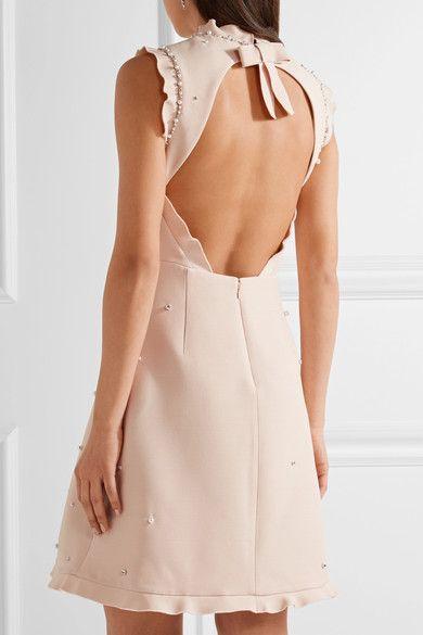 1934b1827c7 Miu Miu - Ruffle-trimmed Embellished Wool And Silk-blend Mini Dress -  Pastel pink