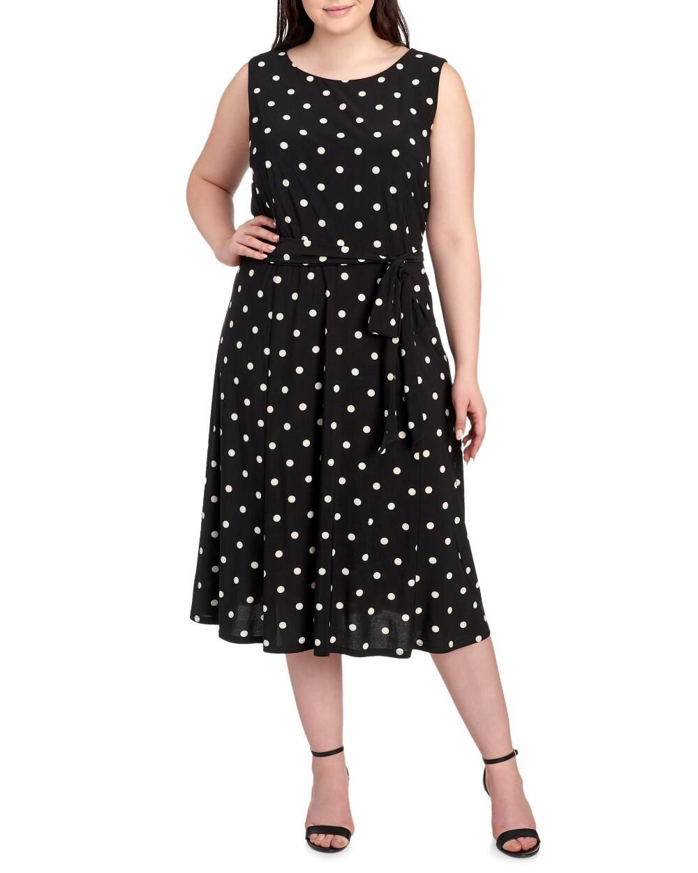 Women\'s Plus Size Polka Dot Fit & Flare Dress-Dresses-Plus Size ...