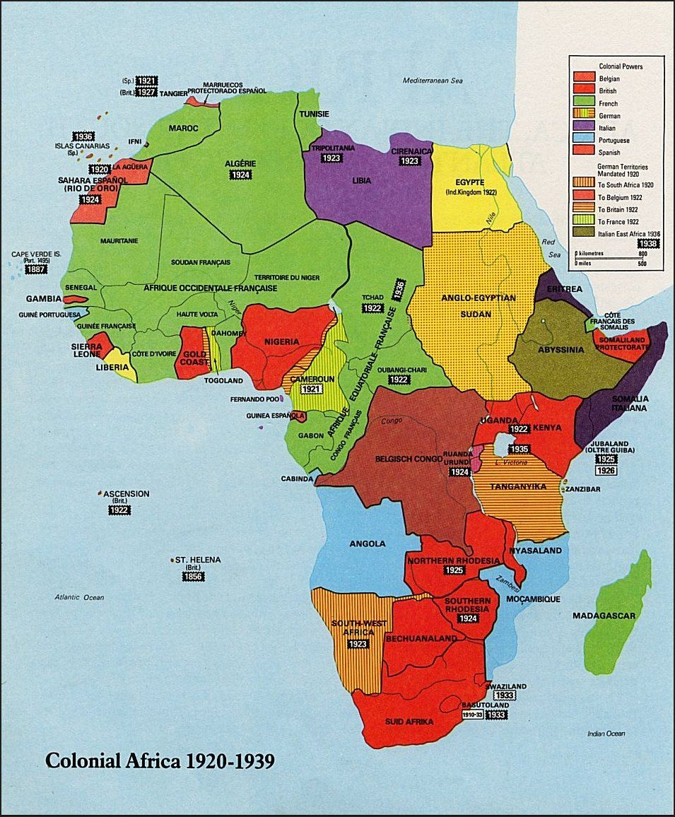 The map in the picture shows Colonial Africa from 19201939 It