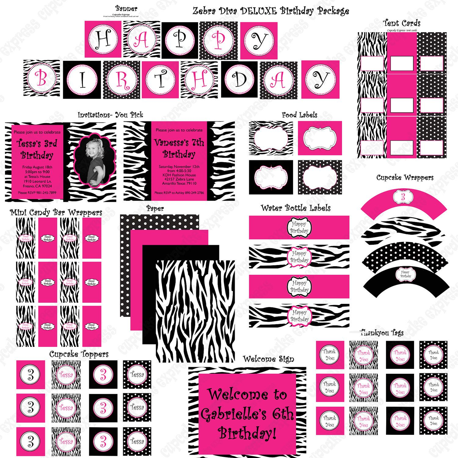 Diva Zebra Deluxe Birthday Collection PRINTABLE Party Hot pInk Black