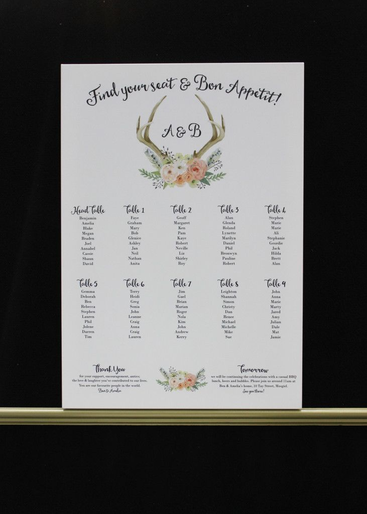 Deer Antlers and Flowers Seating Plan