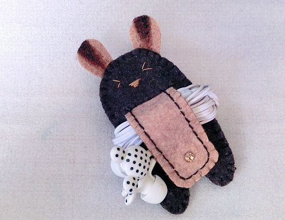 Dark Choco Rabbit with Tail Earphones Winder from Lily's Handmade - Desire 2 Handmade Gifts, Bags, Charms, Pouches, Cases, Purses by DaWanda.com