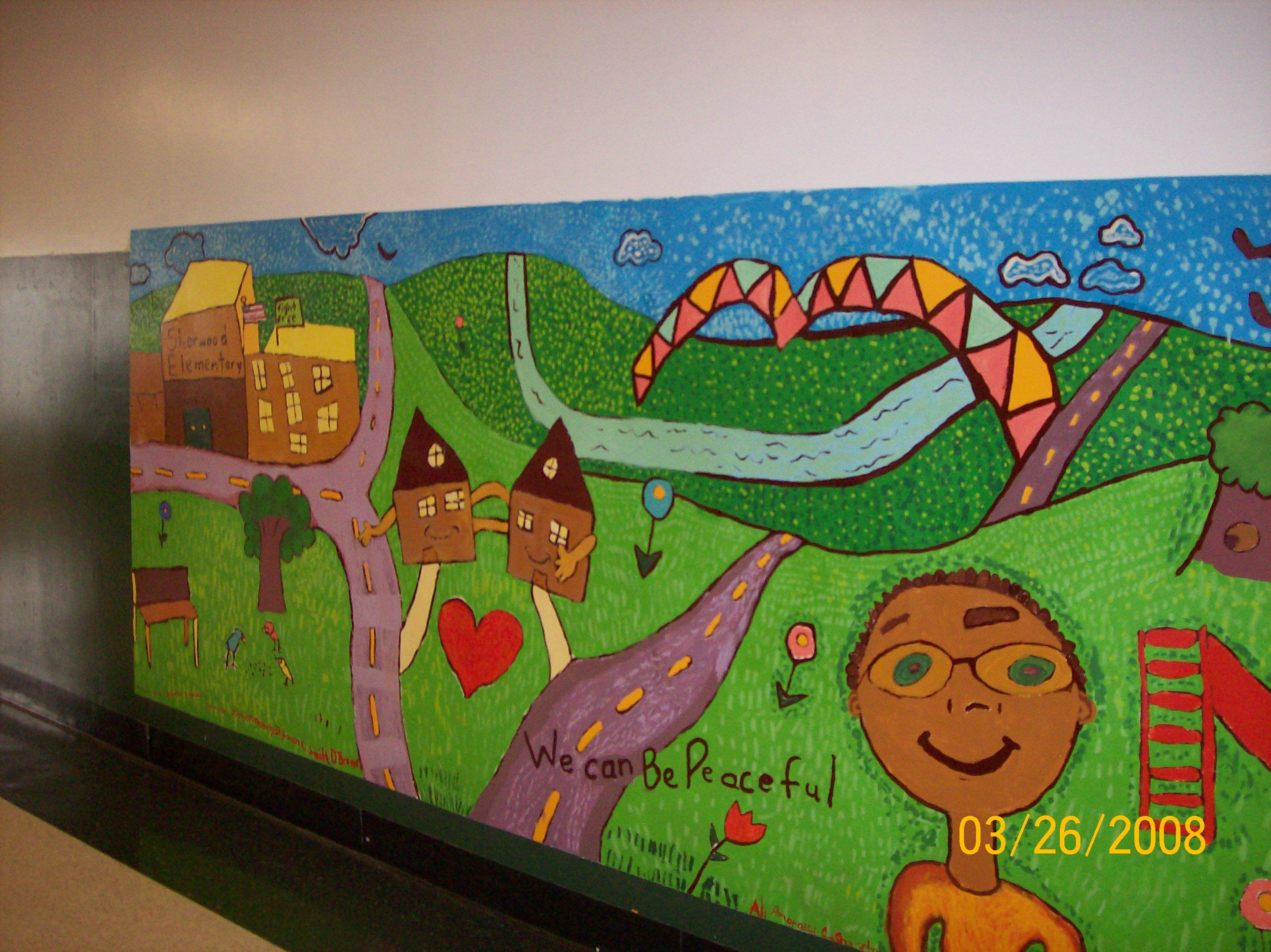 Finished mural school mural pinterest wall ideas for Elementary school mural ideas
