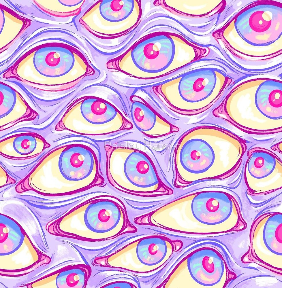 Wall Of Eyes In Purple By Paisley Hansen Trippy Painting