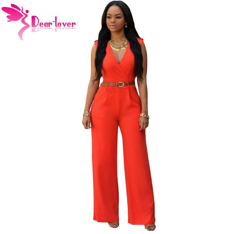 a74d0606612 DearLover Fashion Big Women Sleeveless Maxi Overalls Belted Wide Leg  Jumpsuit 7 Colors S-2XL Plus Size macacao long pant LC60932