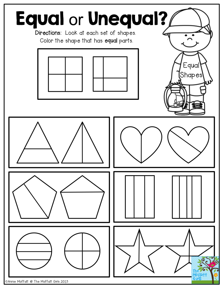 Equal or Unequal Fractions? Look at each set of shapes and color the ...