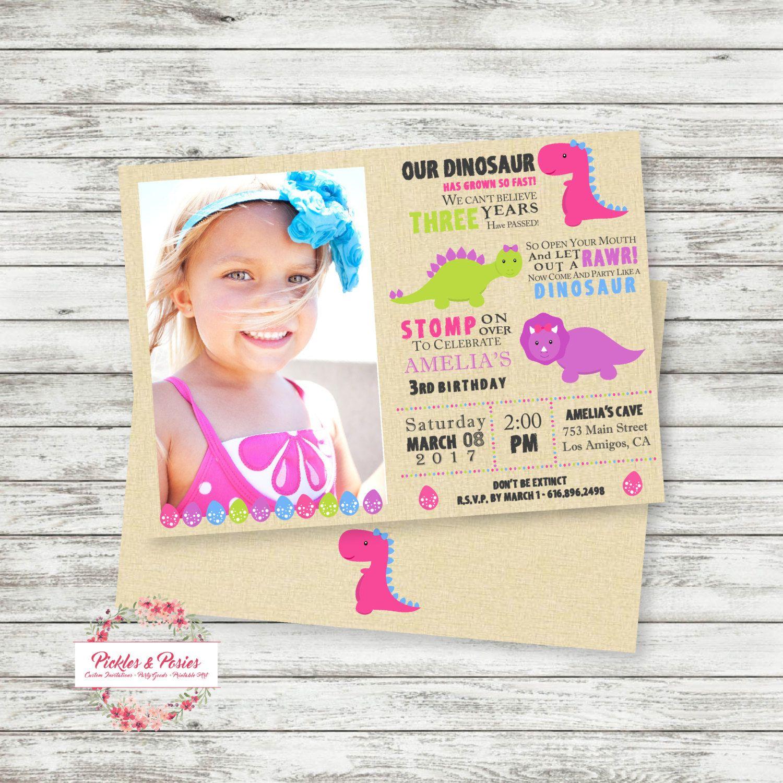 Pink Dinosaur Invitation with Photo - Printable - Personalized Birthday Invitation - Girl Dinosaurs by PicklesAndPosies on Etsy
