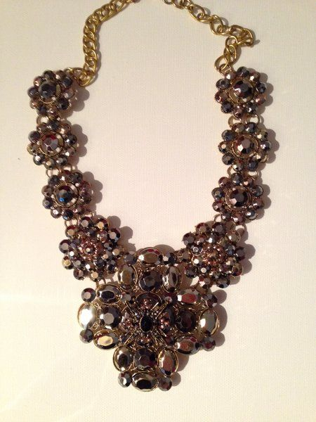 JUST ARRIVED! Also comes in white. Beautiful vintage rhinestone necklace in grays and taupes $16