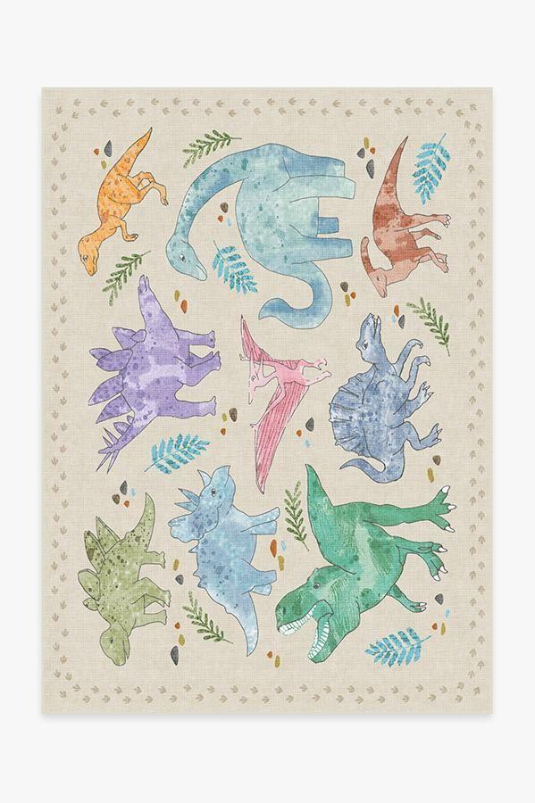 Dinosaur Parade Multicolor Rug #prehistoriccreatures