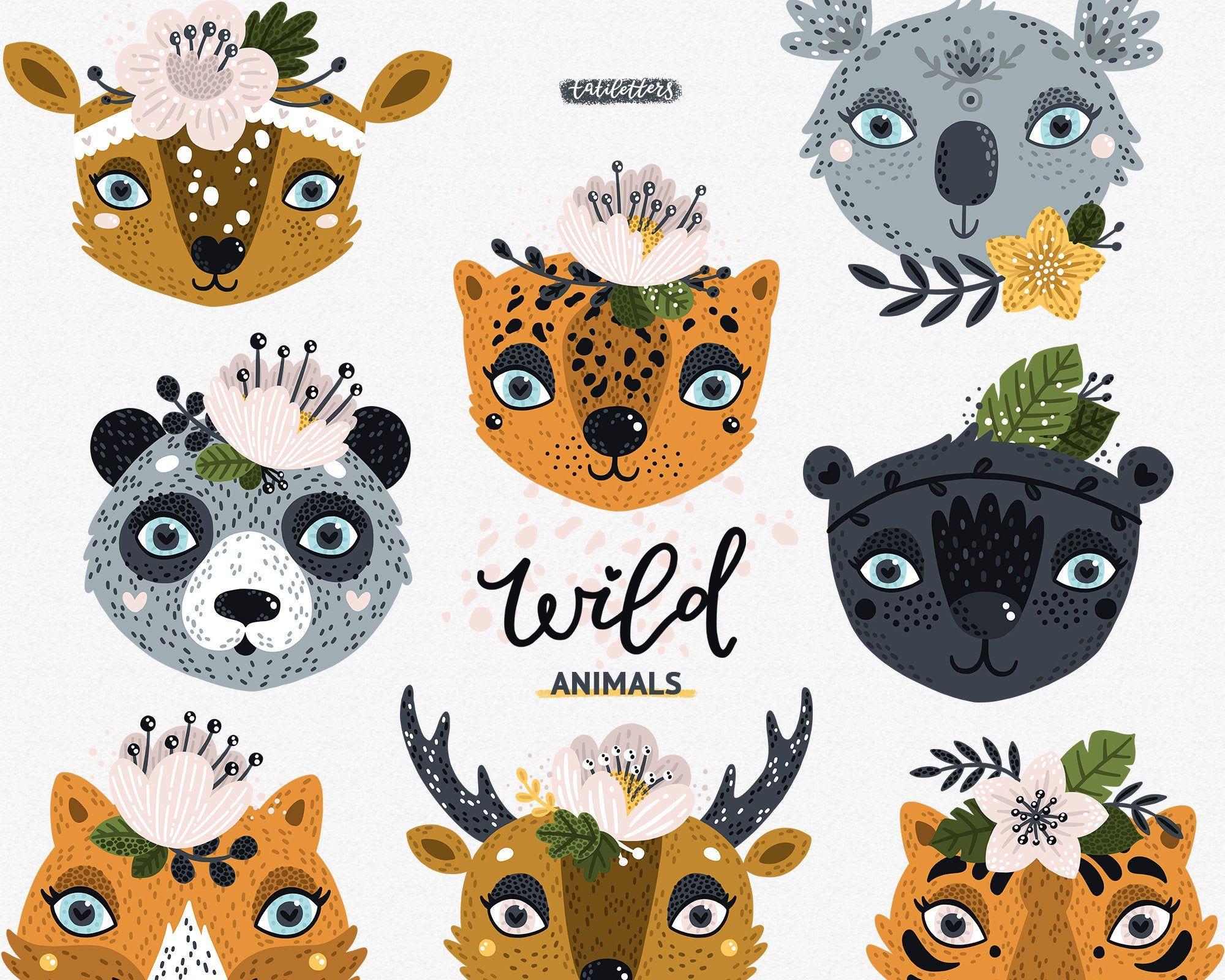 Wild Animals Clipart Animal Vector Baby Animals Tiger Svg Etsy Animal Clipart Animals Wild Tropical Animals