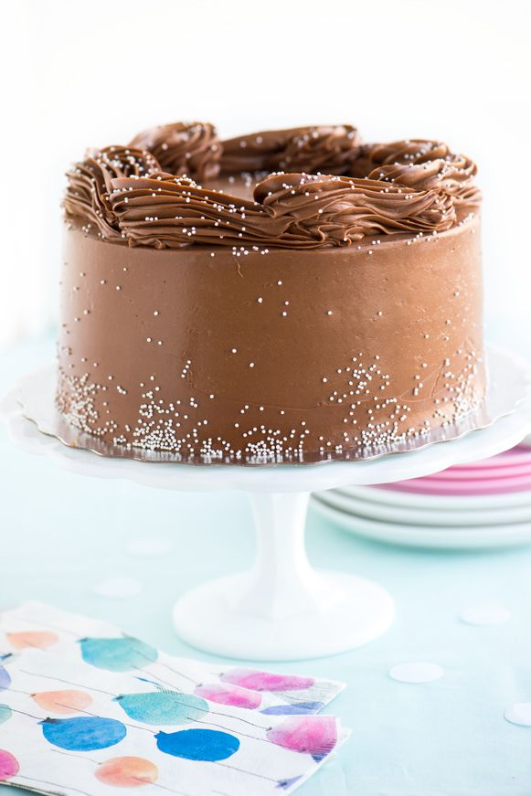 Buttermilk Birthday Cake with Malted Chocolate Frosting | Sweetapolita