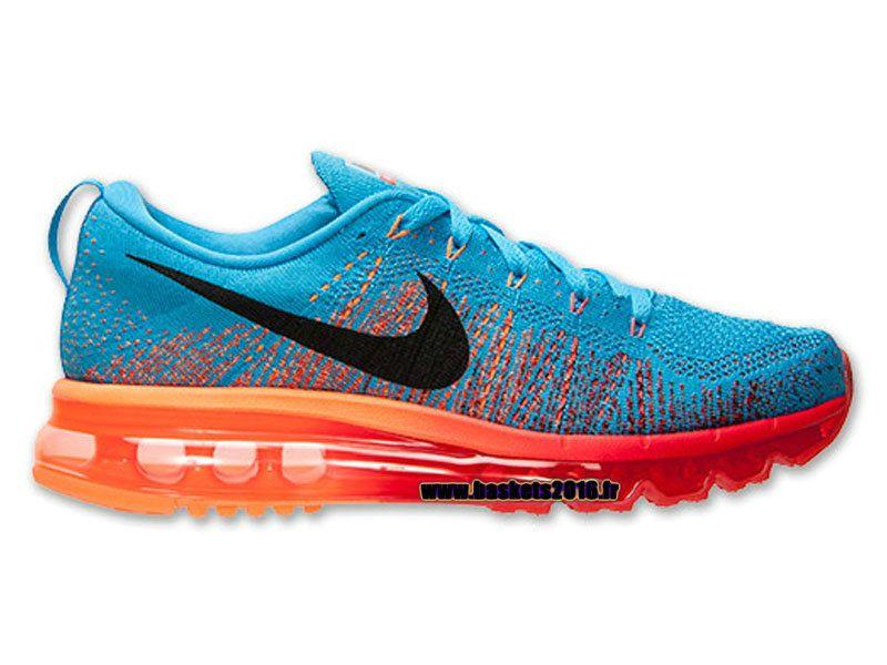 Boutique Officielle Nike Flyknit Air Max Chaussures Pour Homme Orange - Bleu - Noir l620469-406
