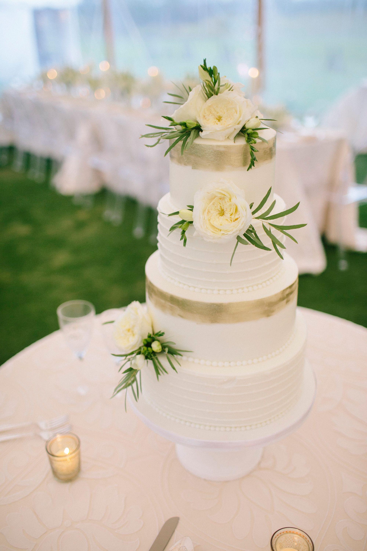 Gold Leaf Painted White Buttercream Wedding Cake White And Gold Wedding Cake Wedding Cake Fresh Flowers Wedding Cake Gold Leaf