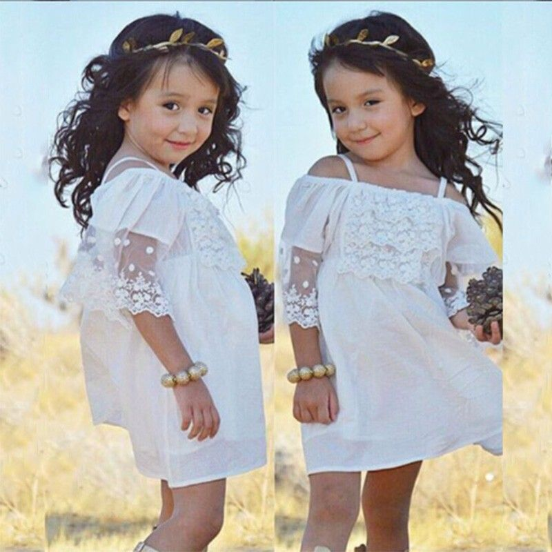 UK Kids Baby Girls Lace Pageant Party Princess Formal Bridesmaid Gown Dress gfre