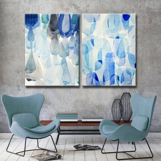 Ready2HangArt Down Pour and Heavy Rain Canvas Wall Art - Set of 2
