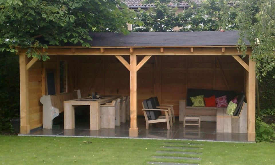 Hovenier van brenk overkapping larikshout veranda leem brands i bogarden pinterest - Pergola dak platte ...