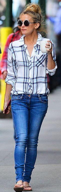 d1752e9b0 Who made Kate Hudson s white plaid shirt