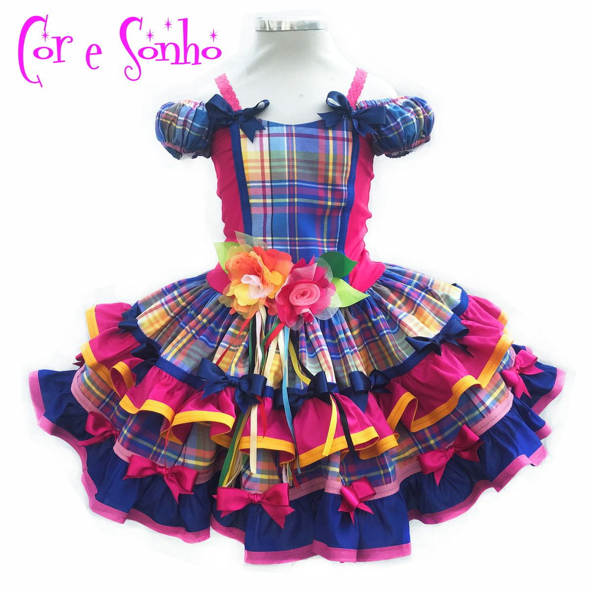 baa137622 Vestido rodado de Menina Quadrilha Festa Junina